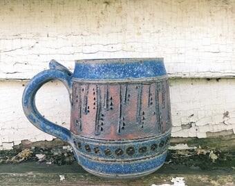 Blue Carved Cascade Mug