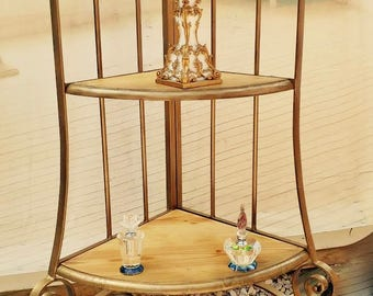 Shelving unit, 4 tiers heavy metal, ornate sculptured , ideal for corner, bathroom,, kitchen bedroom, hallway