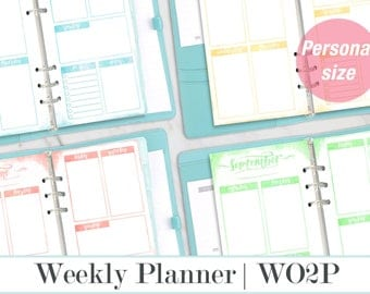 Week on two pages, WO2P, Personal Planner Inserts, Watercolor Weekly Planner, Planner inserts Printable, Filofax Personal, Kikki K Medium