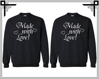 Made With Love Couple Crewneck Sweatshirt Made With Love Couple Crewneck Sweatshirt Couple Matching Sweatshirt Anniversary Gift