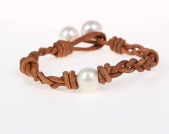 Hand made friendship bracelet - pearl leather woven bracelets - bridesmaid gift - white pearl bracelet