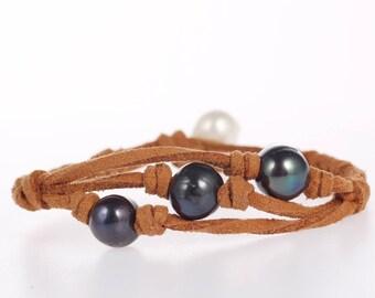 Black pearl bracelet freshwater pearl jewelry bridesmaid bracelet white pearl bracelet wedding bracelet