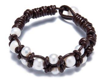 Hand made friendship bracelet - pearl leather woven bracelets - freshwater pearl jewelry - wedding bracelet - bridesmaid pearl bracelet