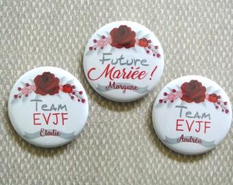 Badge Team EVJF thème Rose Rouge