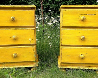 Gustavian yellow Bedside Tables, Drawers