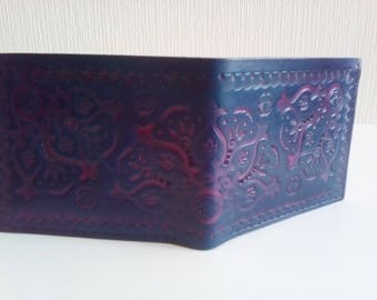 Blue and purple leather wallet