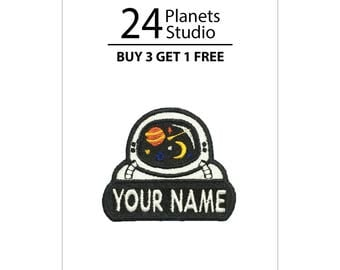 "Mini Astronaut ""Your Name"" Iron on Patch by 24PlanetsStudio"