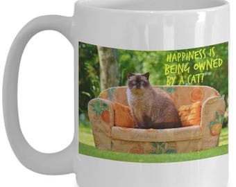Happiness is Being Owned By A Cat! Beautiful Photo of a Gorgeous Chubby Siamese Kitty Cat on a Couch Adorns 15 oz White  Coffee Mug!