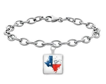 """TEXAS WATERCOLOR BRACELET! Beautiful Watercolor Texas Flag Lone Star State Native Texan Pride Stylish Texas Strong ! 8"""" Silver Bracelet!"""