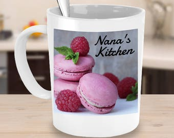 NANA'S KITCHEN Pink Macaroon Cookies Coffee Mug! Lovely Plate of Nana's Cookies Family Food Fun Coffee Cup! Hostess Gift Mug