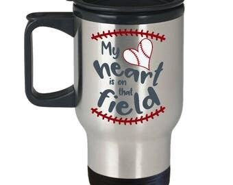 Baseball Lover Travel Mug Sports Fan Coffee Cup Gift Player Coach Pitcher Catch Batter Mom Dad Son Daughter
