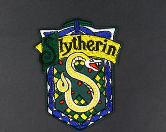 Harry Potter Patch House Slytherin Crest Embroidered Iron on Badge Costume Applique Motif Wizard Hogwarts