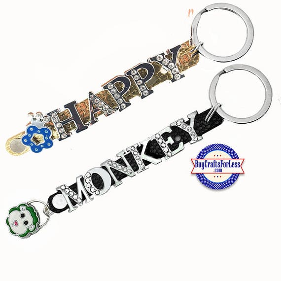 HAPPY or MONKEY Key Ring, 4 Colors from BuyCraftsForLess +FREE Shipping & Discounts*