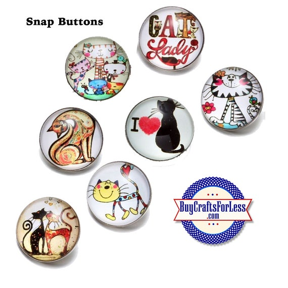 SNAP KiTTY Cat BUTTON, 18mm INTERCHaNGABLE Button +FREE Shipping & Discounts