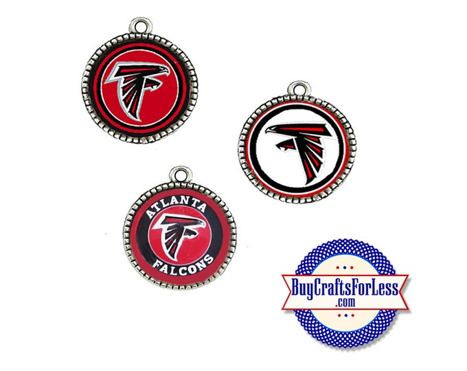 ATLANTA Football CABOCHON, 18mm, CHooSE Design, Glass or Epoxy Cover  - Super CUTE!  +FReE SHiPPiNG & Discounts*