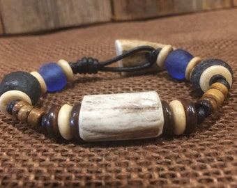 Leather Deer Antler Bead Bracelet