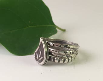 Paisley Sterling Silver Stacked Rings
