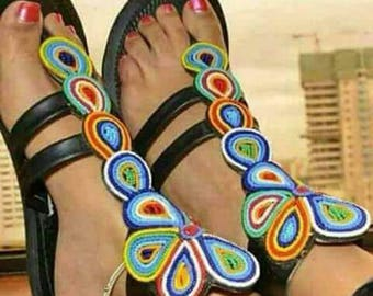 Hand Made Bead Decorated Leather Sandals