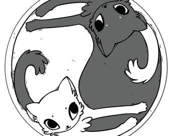 Black & White Yin Yang Cats 10cm Vinyl Sticker