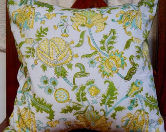 Indian series D: 40x40cm (16 x 16 inch) cotton Cushion cover. Multicolored floral patterns. Green dupioni silk.