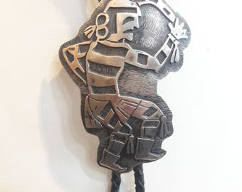 Vintage Native American Hopi Handmade Sterling Silver Kachina Dancer Bolo Tie