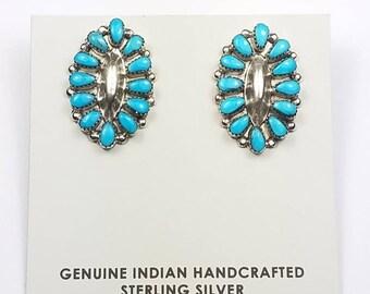 Native American Navajo handmade Sterling Silver Turquoise post earrings