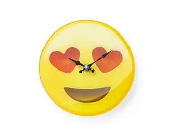 Glass clock Emoticon 17X4X17 cm