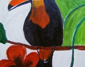 OIL on stretcher canvas toucan Paradise Plumage rating DROUOT oil on canvas