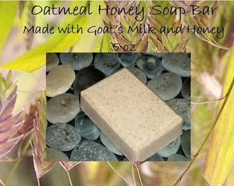 Oatmeal Soap Bar 5 oz; Oatmeal Honey Soap Bar; Oatmeal Soap; Honey Soap; Goat's Milk Soap
