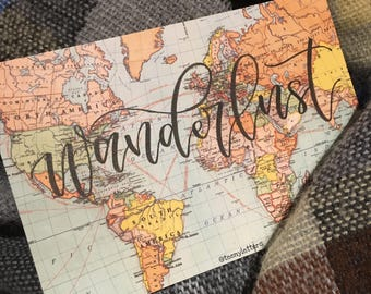 Custom made hand lettered map postcard