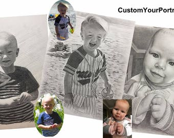 Custom portrait Personalised portrait pencil drawing Custom Baby portrait from your photo Sketch Portraits by commission Original artwork