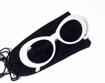 Oval Frame Tinted Dark Lens Retro 90s Kurt Cobain Sunglasses