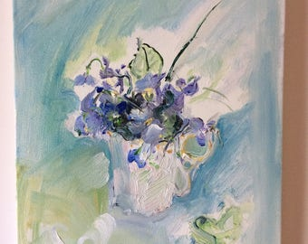 White Cup of Violets, original oil painting, canvas frame