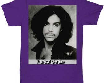 Purple Prince T-shirt Teeshirt Musical Genius White or Black