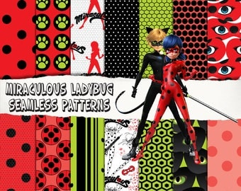 14 MIraculous Ladybug digital papers, seamles patterns, superhero birthday party invitation, decoration, scrapbooking