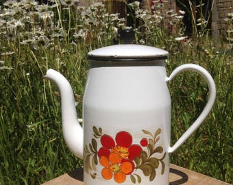 French  1960's Retro  Kitchen Enamel Ware- Coffee Pot.