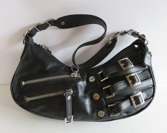 Genuine Guess Bag - Worn Shoulder - Black Leather - Vintage