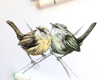 Art Print from Original Pen & Ink Illustration - Bird Love