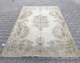 Cream Rug 8.9 x 5.7 feet,oushak rugs,turkısh oushak rug,turkısh rug,area rug.bohemian rug,overdyed rug.turkısh carpet,handmade rug,floor rug