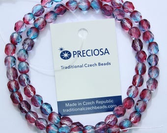 6mm Red and Blue Beads Preciosa Czech Glass Faceted Rounds 16 inch strand 68 beads