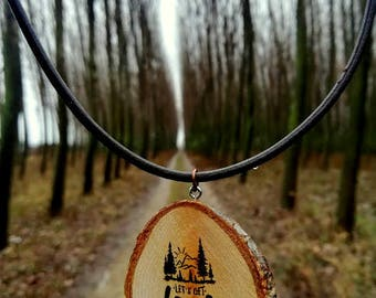 Natural Wooden Necklace Let's Get Lost Burned Pendant  Minimalist Wood Round Slice Tree Leather Pyrography
