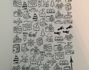 Travel Doodle Planner Stickers By Just Juliana Shop