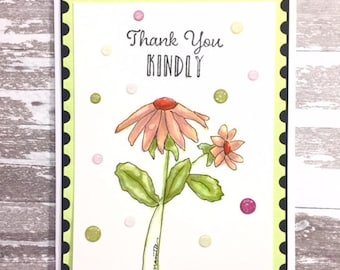 C036 - Watercolor Hand-drawn Handmade Greeting Card -  Thank You Kindly