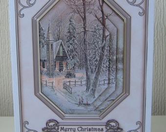 Chrismas Snow Scene 3D Christmas Card Pyramage Sparkly Xmas Card With Verse