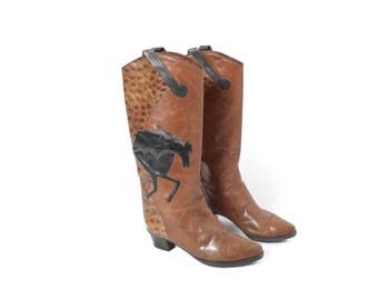 Brown Leather boots, Cowboy boots, Vintage boots, Midcalf boots, Boho Festival boots, Heel boots, Western boots / EUR 39.5 , US 9 , UK 7
