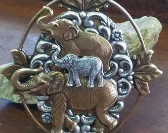 """ONE OF A KIND Museum Quality, Etched Signature """"Cappy"""" Brass and Nickle Elephant Money Clip!"""