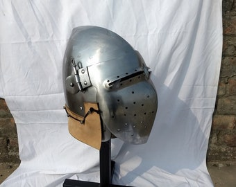 Medieval Monkey face bascinet historical helmet armour for hard fighting sca armour