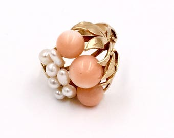 14k Rose Gold Coral Ring  5.3g.               SALE