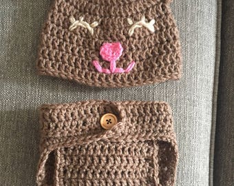 Teddy bear hat and diaper cover 0-3 months