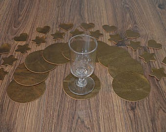 10 golden cowhide leather coasters (17101908)